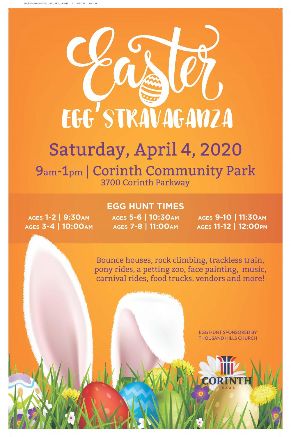 Easter Events Near Me 2020.Easter Egg Stravaganza City Of Corinth Texas